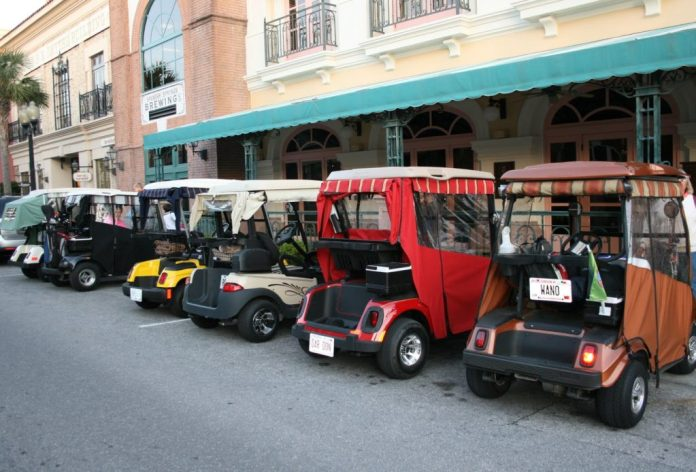 Golf Carts parked outside building