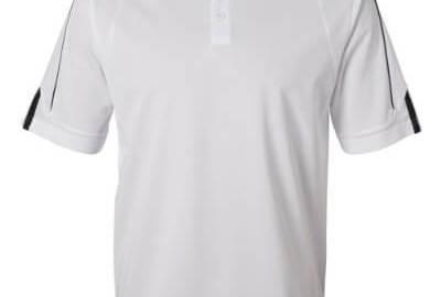 31VZbFcqz9L - Adidas Golf Men's ClimaLite 3-Stripes Cuff Polo Sport Shirt. A76 - Large - White / Black