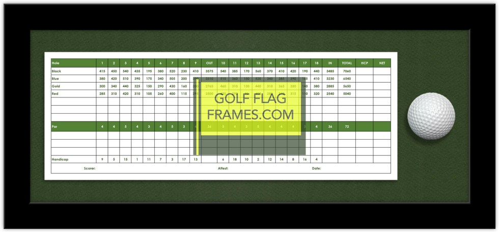 Here is the GolfFlagFrames.com 4x12 or 5x12 Scorecard and Golf Ball Frame with green mat