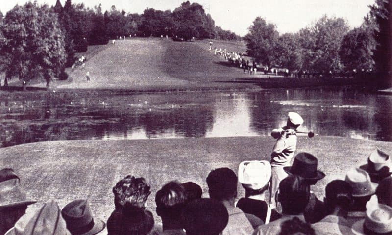 1945-pdx-open-ben-hogan-tees-off-of-the-11th