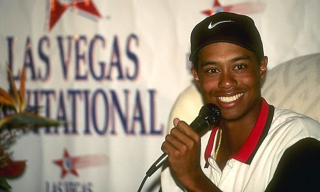 in 1996  tiger woods beats davis love iii for his first
