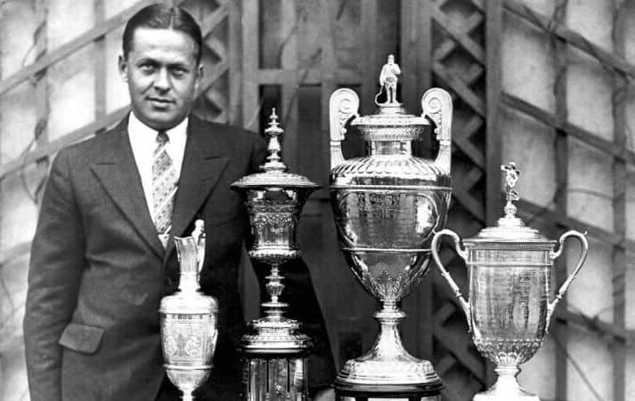 Bobby Jones with the Grand Slam trophies