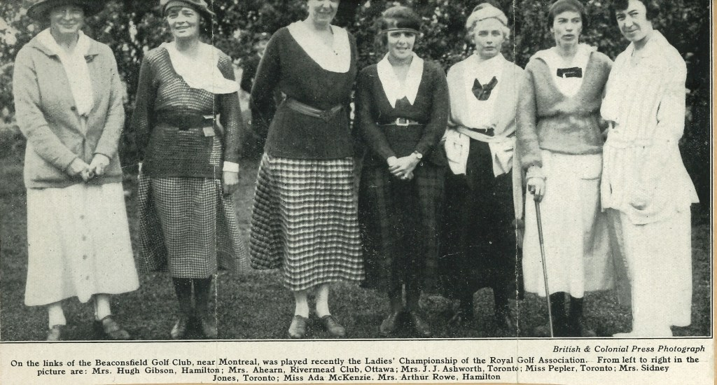 A photograph of seven players from the 1919 Championship with Ada Mackenzie 2nd from the right, kindly supplied by The Royal Ottawa Golf Club