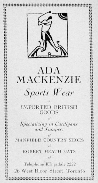 An advert from 1930 for Ada Mackenzie's Sportswear Store, kindly supplied by Margaret McLaren