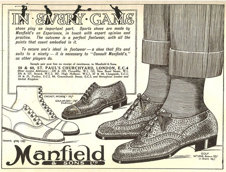 Ada Mackenzie sourced golf shoes from Manfield & Sons Ltd...advert kindly supplied by Margaret McLaren