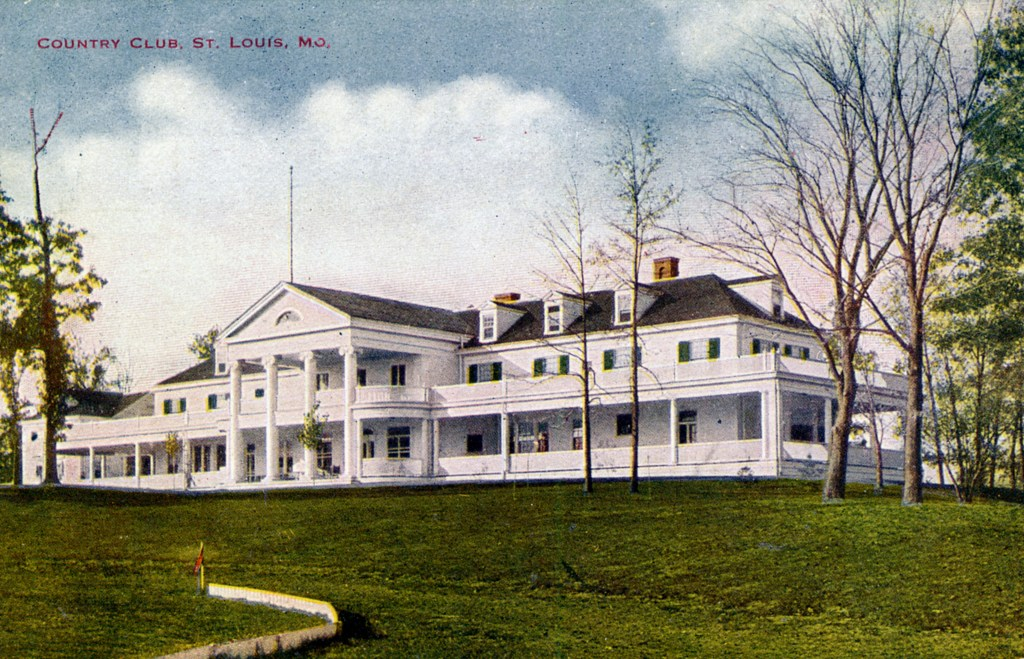 Photograph of the clubhouse at the St Louis Country Club, Missouri circa. 1910