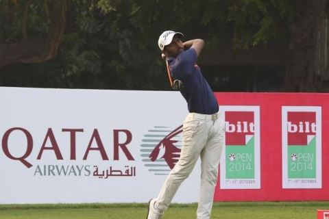 S Chikkarangappa shot a course record 64 to gain a five shot lead at the PGTI Players Championship