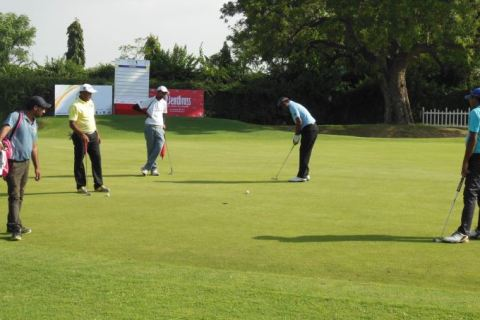 Players during a practice round at the Rambagh Golf Club