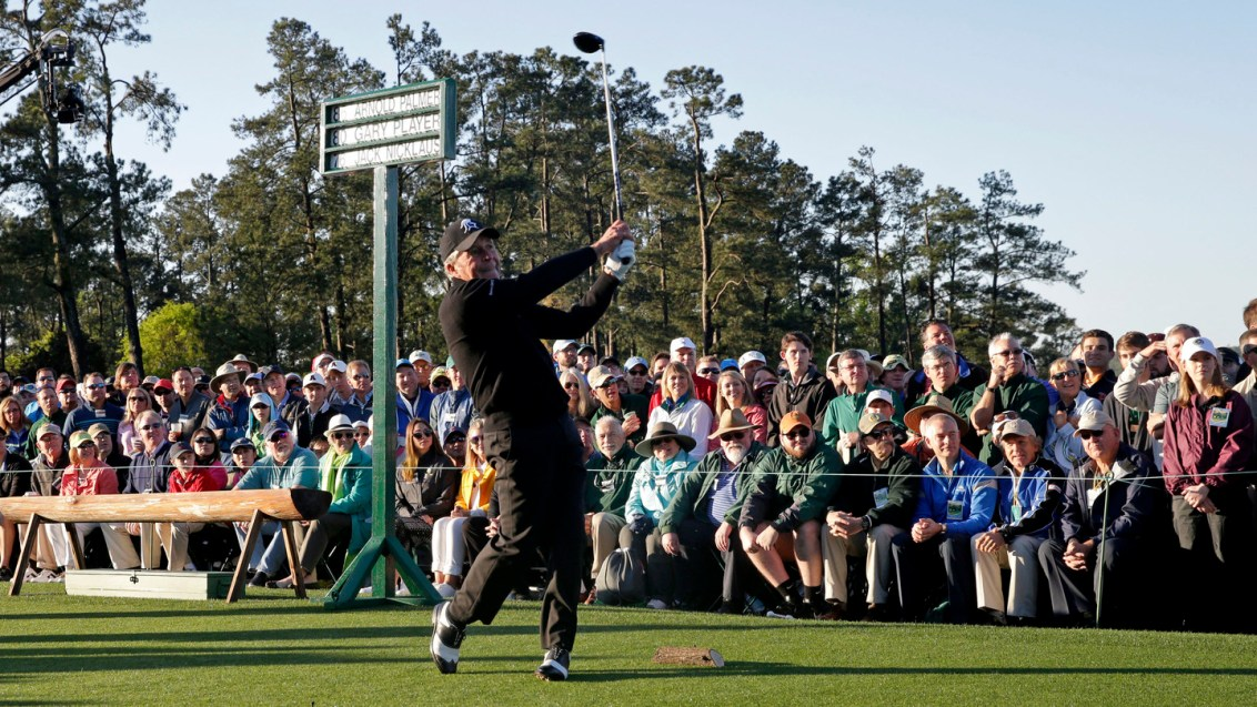Honorary starter Masters champion Gary Player of South Africa hits his tee shot on No. 1 during Round 1 at Augusta National Golf Club on Thursday April 7, 2016.