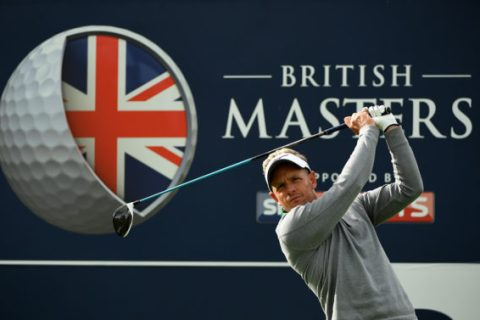 England hits his tee shot on the third hole during the Hero Pro-Am at The Grove on October 12, 2016 in Watford, England.
