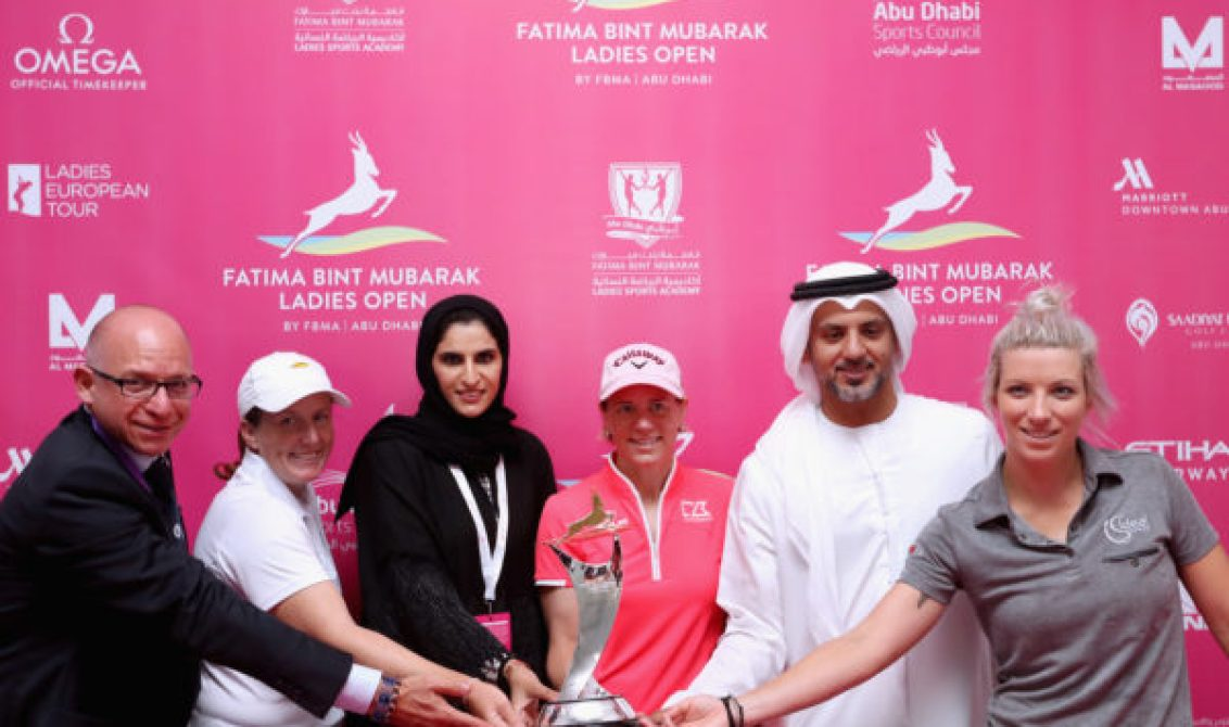 Davide Lantos, Ladies European Tour, Beth Allen, Dr. Mai Al Jaber, Fatima Bint Mubarak Jaber Ladies Sports Academy, Annika Sörenstam of Sweden, Talal Al Hashemi, Abu Dhabi Sports Council, and Melisa Reid of England pose for a picture after a press conference ahead of the Fatima Bint Mubarak Ladies Open at Saadiyat Beach Golf Club on October 31, 2016 in Abu Dhabi, United Arab Emirates.