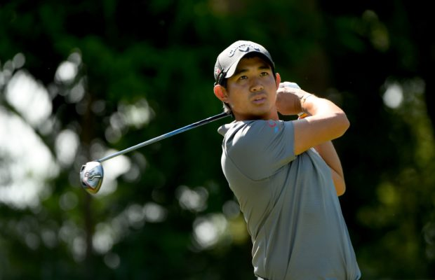 Pavit Tangkamolprasert of Thailand playing a shot during the pro-am tournament of the Resorts World Manila Masters held at the Manila Southwoods Golf and Country Club