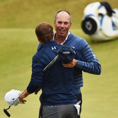 Matt Kuchar greets Jordan Spieth at the Open