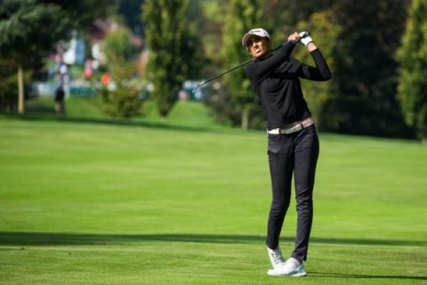 Aditi Ashok during the first round of the Evian Championship - LET Image