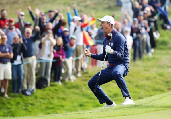 Justin Rose exults in joy during the foursomes in the Ryder Cup - European Tour Image