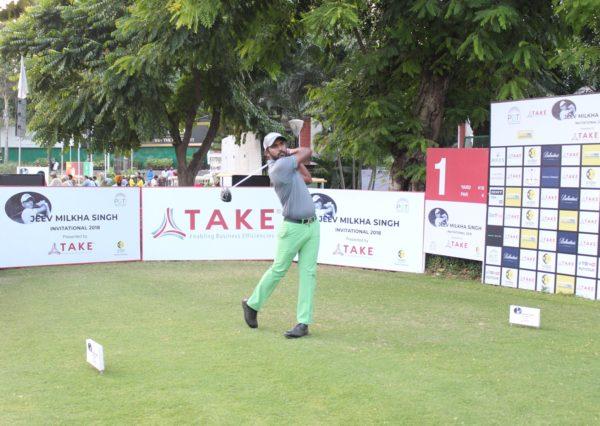 Chikkarangappa during the second round of Jeev Milkha Singh Invitational
