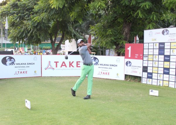 Chikkarangappa during the second round of Jeev Milkha Singh Invitational