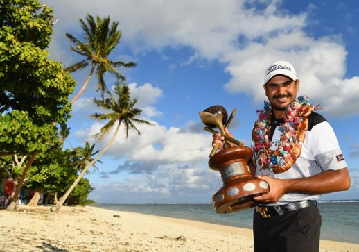 Gaganjeet Bhullar with the spoils in Fiji