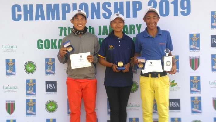 Sukra Bahadur Rai (left), Kashmira Shah (centre) and Subash Tamang (right) emerged as age group winners in the Faldo Series Nepal Championship.