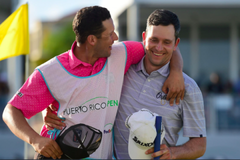 Martin Trainer rejoices with his caddie for the week Ryan Ellerbrock - PGA TOUR Images