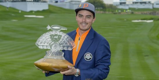 Rickie Fowler with his Phoenix Open silverware