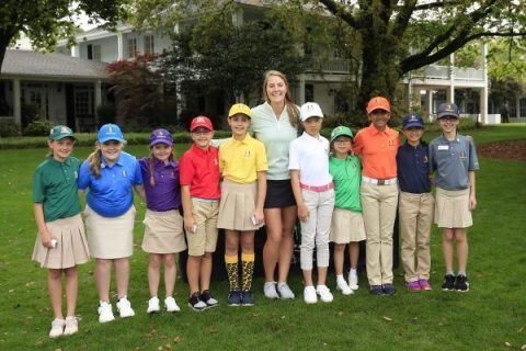 Jennifer Kupcho with some of the Drive Chip & Putt participants - ANGC Images
