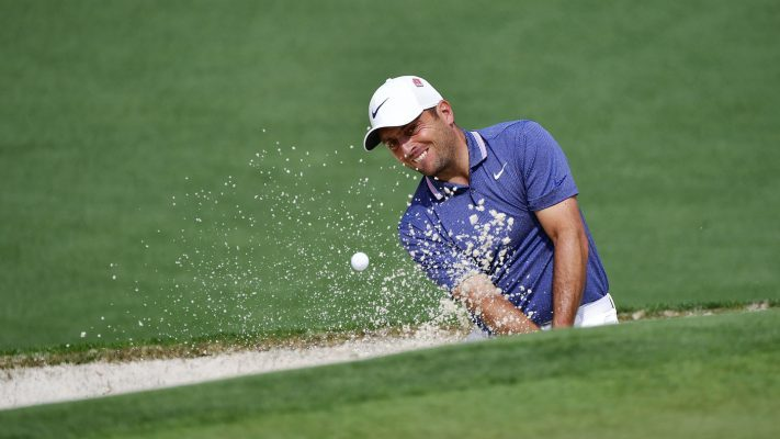 Francesco Molinari of Italy plays a stroke from a bunker on the No. 2 hole during the second round of the Masters at Augusta National Golf Club, Friday, April 12, 2019.
