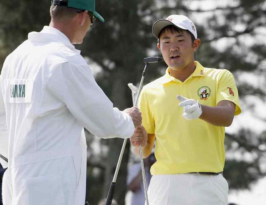 Takumi Kanaya at the Masters on Monday