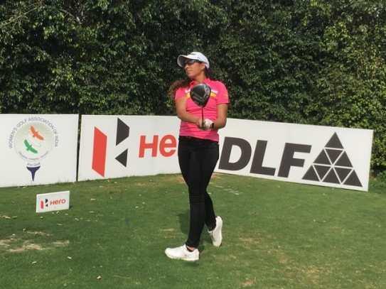 Gaurika Bishnoi in action at Clover Greens