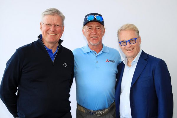 The image of Chief Executive of the R&A, Martin Slumbers, Miguel Ángel Jiménez, and Chief Executive of the European Tour, Keith Pelley, (Picture Credit - Getty Images)