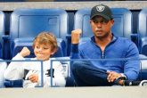 Tiger Woods celebrates Rafel Nadal's win on Monday night along with his Son Charlie