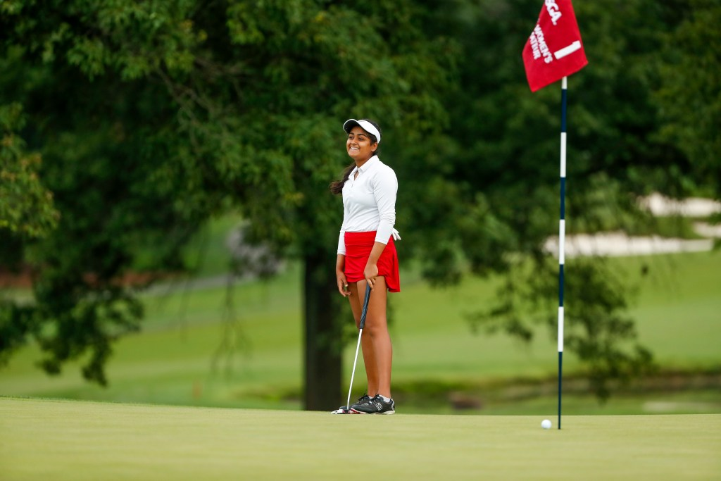 Anika Varma reacts to a putt that came so close to dropping into the cup during the first round of stroke play at the 2020 U.S. Women's Amateur at Woodmont Country Club in Rockville (Copyright USGA/Chris Keane)