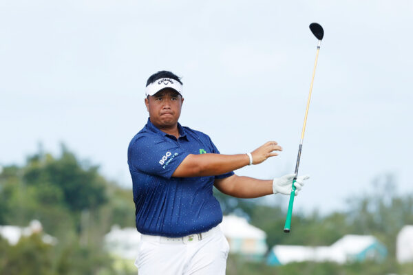 Kiradech Aphibarnrat of Thailand plays his shot from the tenth tee during the final round of the Bermuda Championship at Port Royal Golf Course on November 01, 2020 in Southampton, Bermuda. (Photo by Gregory Shamus/Getty Images)