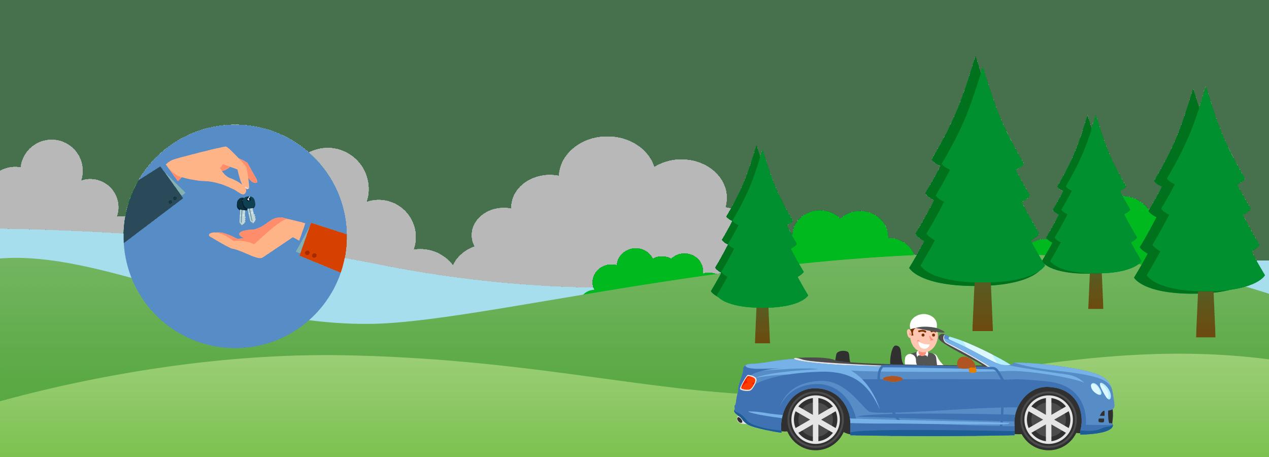 Jugador en un torneo de golf con premio al Hole-in-One manejando en el coche que ganó