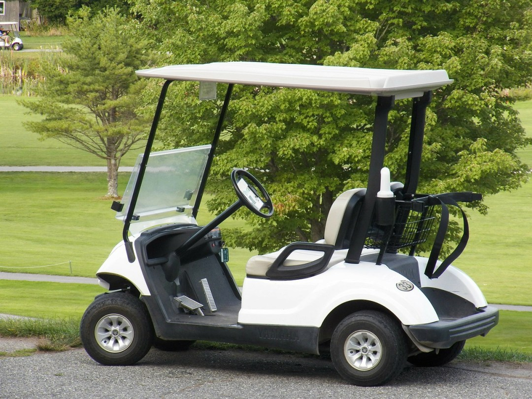 Golf cart in the golf field