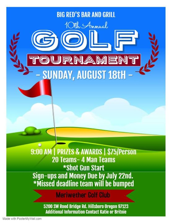 Big Red's 10th Annual Golf Tournament