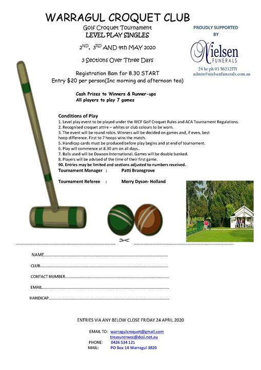 Warragul Croquet Club Golf Croquet Tournament