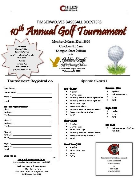 Chiles Baseball Timberwovles Baseball Boosters 10th Annual Golf