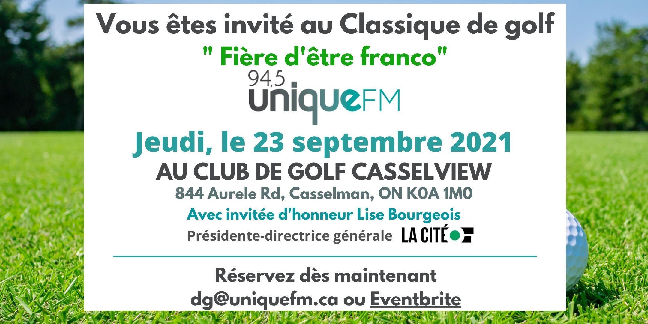 """Tournoi de golf 2021 """"Fière d'être franco"""""""