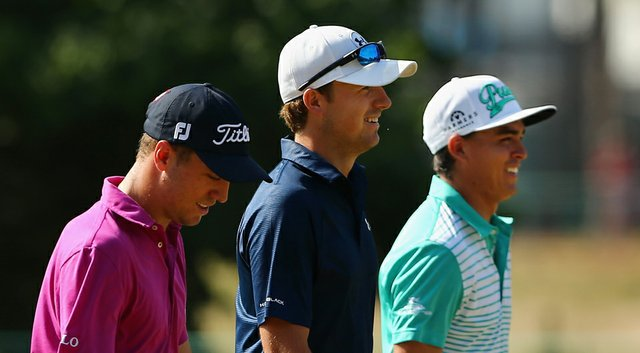 From left, Justin Thomas, Jordan Spieth and Rickie Fowler during Tuesday's practice round for the 2014 U.S. Open at Pinehurst No. 2.