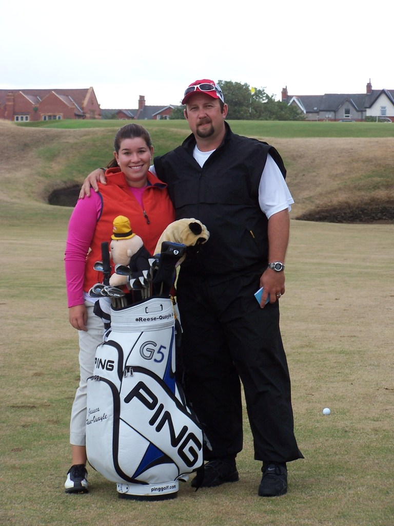 Jessica and coach at British Open