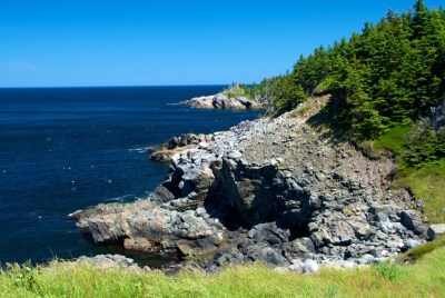 Rocky shoreline of Middle Head