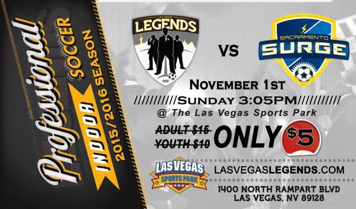 MASL West Div: Sacramento at Las Vegas Legends Nov 1st, 3:05pm live video streaming arena soccer