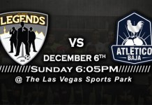 MASL West: Atletico Baja at Las Vegas Legends 7:05pm PT on Dec 6th