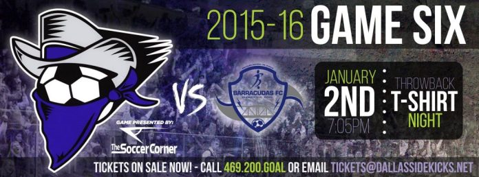 MASL South Div: Brownsville Barracudas at Dallas Sidekicks Jan 2nd 7:05pm CT watch live video