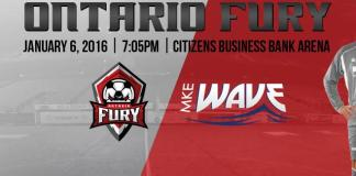 Arena soccer: Milwaukee at Ontario Fury Jan 6th 7:05pm
