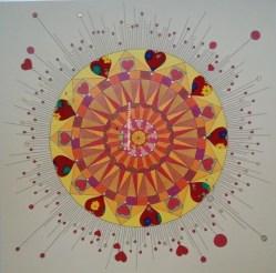"© Golnaran, #golnaran, ""Birthday"", original artwork, fabric and colored pencil, 30×30 cm, 2015."
