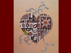 "© Golnaran, #golnaran, ""Kindness"", fabric art, textile collage, 30×40 cm, 2013"