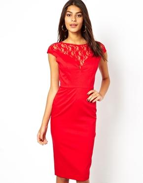 ASOS Lace Top Bardot Pencil Dress