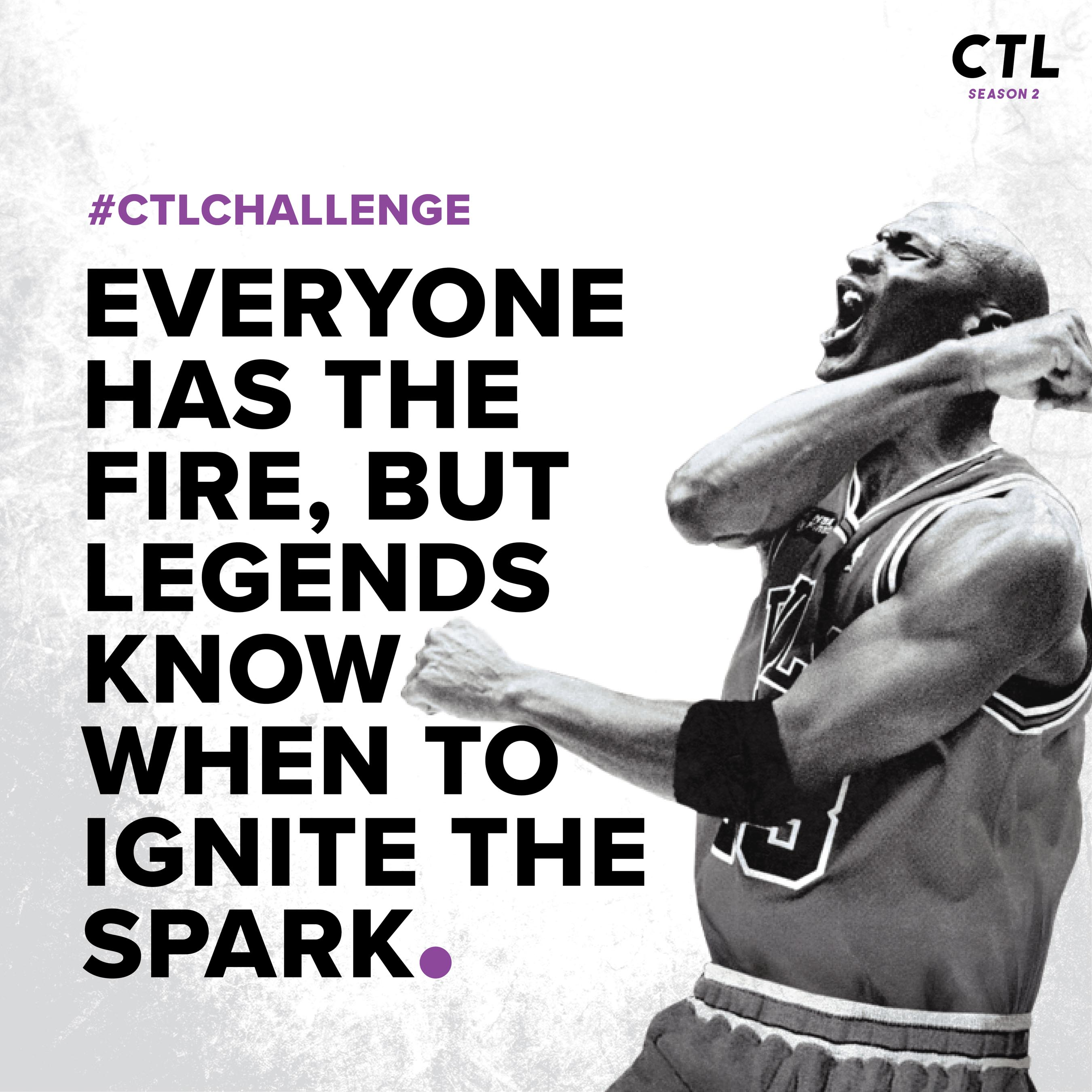 athlete image with text overlay - everyone has the fire, but legends know when to ignite the spark